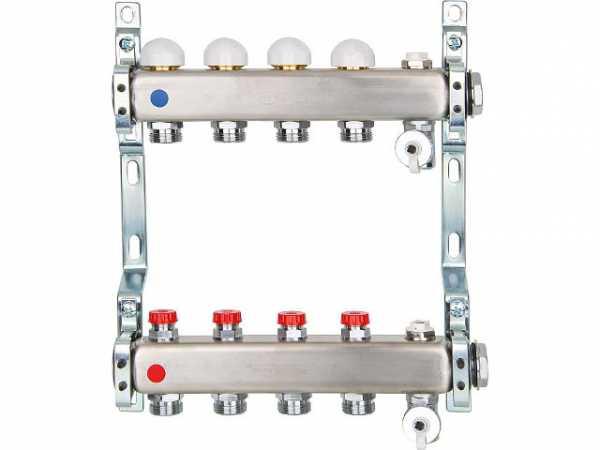 Heizkreisverteiler Edelstahl integrierte Ventile DN25(1') mit 8 Heizkreisen