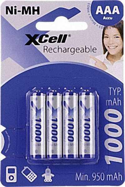 Ni-MH Akku-Zellen (1, 2 V Micro) 1000 mAh 4er Blister