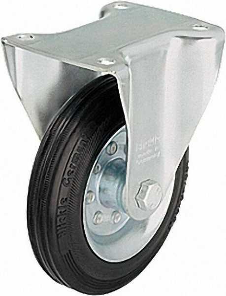 BLICKLE Vollgummi-Bockrolle B-VE 160R, Tragfähigkeit 135 kg Rad D= 160mm, Plattengröße 140x110