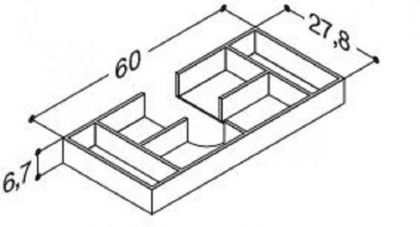 DANSANI 305240016 Kassette, 60 cm, Tiefe 27,8 cm