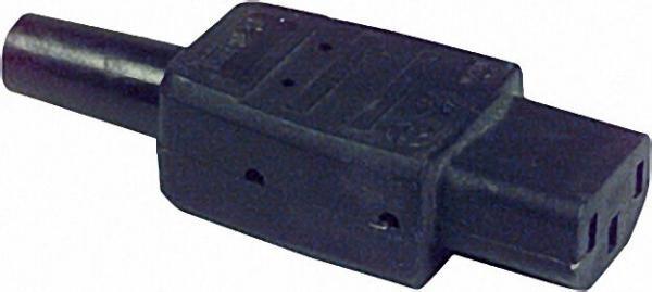 Kaltgerätestecker mit Tülle 230 V/10 A schwarz