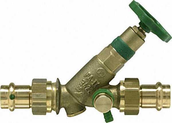 SCHLÖSSER KFR-Ventil mit Prüfschraube mit Pressverschraubung-Viega DN32/35mm nichtsteigende Spindel