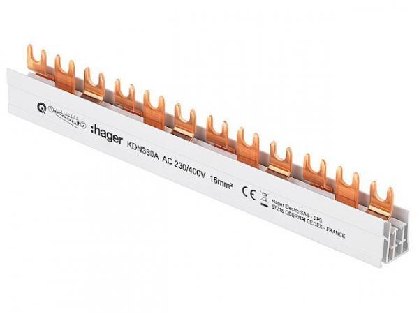 Hager Phasenschiene KDN380A (3P) 80A, 16mm², Länge: 210mm Schraubtechnik/ Quick Connect