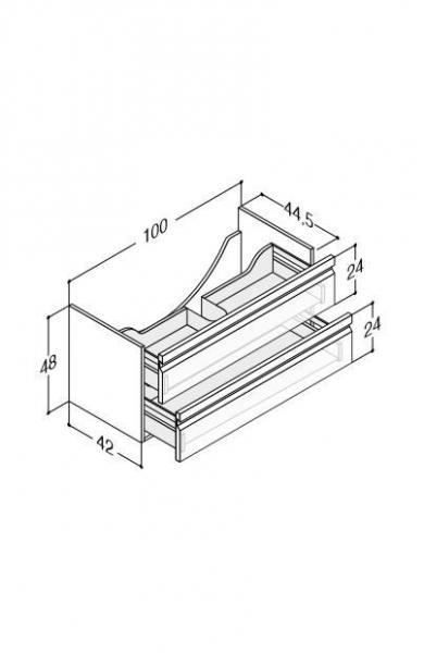 DANSANI Waschtischunterbau 100 cm, 2 Schubladen