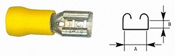 Flachsteckhülse halbisoliert 4,0mm²-6,0mm², 6, 3 x 0, 8mm Farbe gelb, VPE = 100 Stück