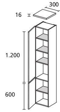 LANZET 7431112 Hochschrank 30/182/30 links Weiß/Dekor Dark Oak 2 Türen