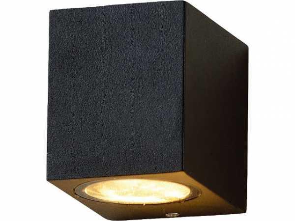 LED Außenleuchte Lichtaustritt unten, eckig,mit GU10 Sockel, IP54, schwarz matt