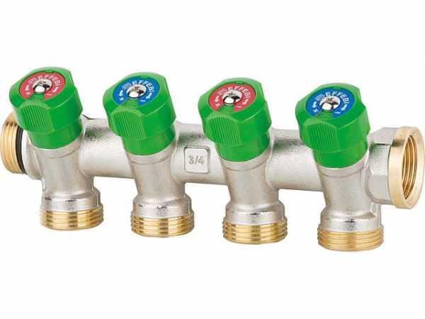"""Trinkwasserverteiler 4-fach DN 20 (3/4""""), PN16, absperrbar , Messing"""