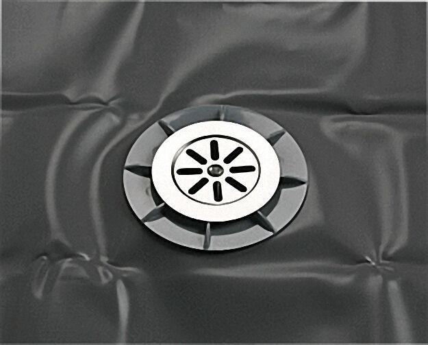 Bodenablauf ABS 100 x 50mm mit Isolierfolie PVC 1200 x 1200mm