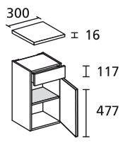 LANZET 7117812 Unterschrank 30/60/30 rechts Weiß/Grafit 1 Tür / 1 Schublade