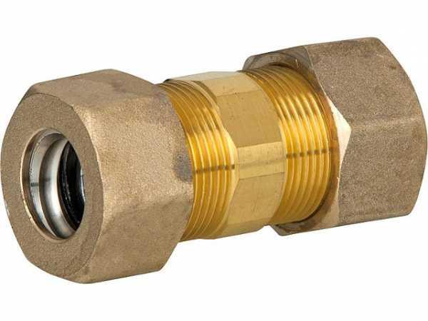 Verschraubung für Spiralrohr DN25xDN25 Kupplung Messing mit Graphit Hochtemepraturdichtung