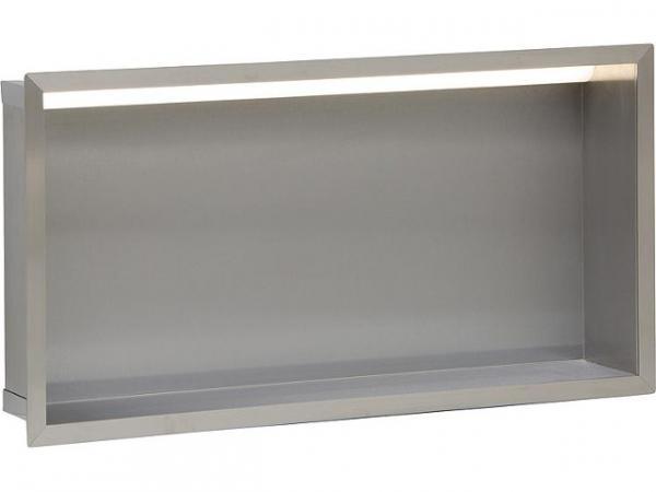 Wandnische Edelstahl, LED Beleuchtung, Tiefe 100 mm, 69 Lumen, 230V, 5.52W, BxH 625x325 mm Bad Edelstahl-Wandeinbaunische