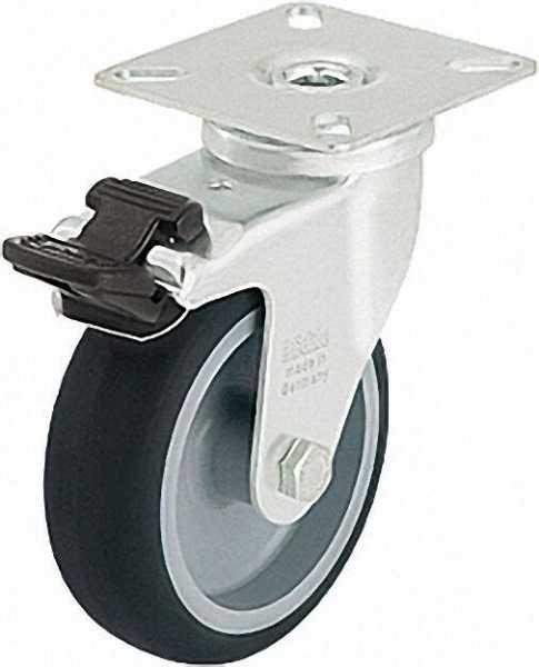 BLICKLE Lenkrolle mit Feststeller LPA-TPA 100G-FI, Tragfähigkeit 70 kg Rad D= 100mm, Plattengröße 60