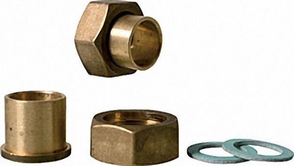 Lötanschluss-Verschraubung 1''x 22mm mit je 2 Überwurfmuttern, Löttüllen und Dichtringen
