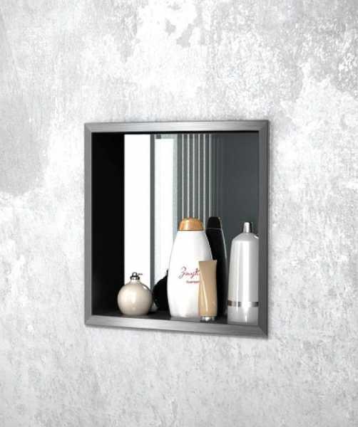 Edelstahl-Wandeinbaunische mit Spiegelrückwand, offen, 900 x 300 mm