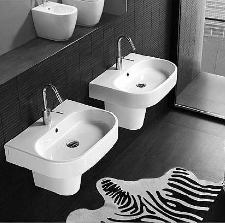 Waschtisch, Waschbecken AREA aus Keramik mit 1 Hahnloch, weiß, BxHxT:600x110x450mm