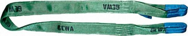 Hebebänder aus Polyester, Grün DIN 61360/EN 1492-1, zweilagig Breite 75 x 9mm, Nutzlänge 2,0m
