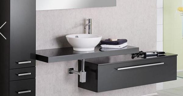 LANZET 7242712 Q4 Waschtisch Platte, Grafit Hochglanz 120x50x6 cm