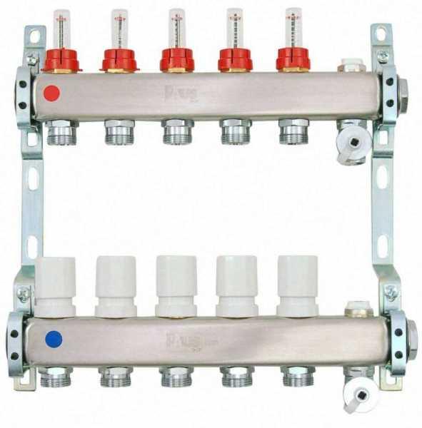 Heizkreisverteiler aus Edelstahl für Fußbodenheizung Profi-Ausführung 5-fach