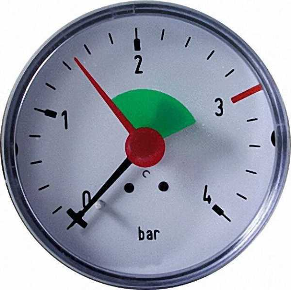 Heizungsmanometer axial 63mm durch, 3/8'' 3,0bar