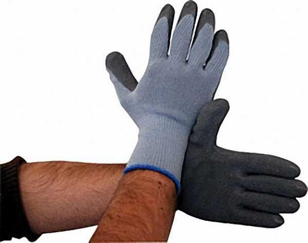 Schutzhandschuh Latexbeschichtet grau, L / Paar