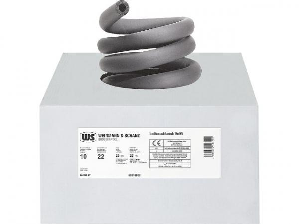 Kautschuk-Isolierung für 18 mm Rohr, Dämmdicke 6 mm, VPE 1 Karton = 30 m