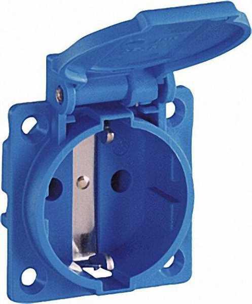 Einbausteckdose Blau IP54 mit Flanschbefestigung Anschluss senkrecht