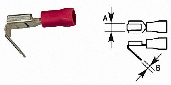 Flachsteckhülse mit Abzweigung halbisoliert, bis 1,5mm², 6, 3x0, 8mm Farbe rot, VPE = 100 Stück