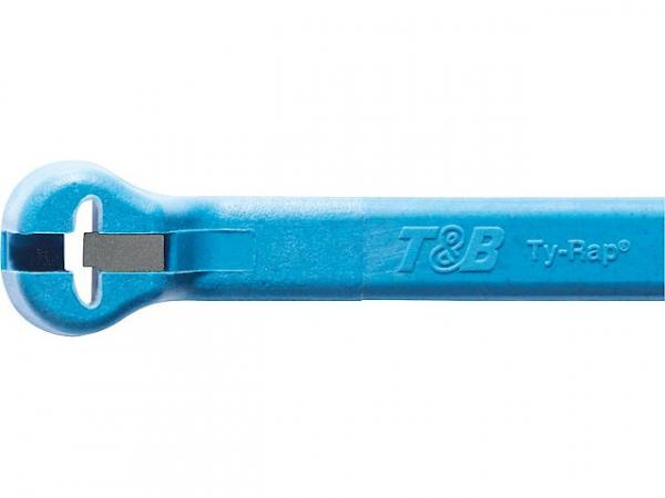 Stahlnasenkabelbinder Ty-Rap 340x7 mm, Farbe: Hellblau VPE: 50 Stück, detektierbar