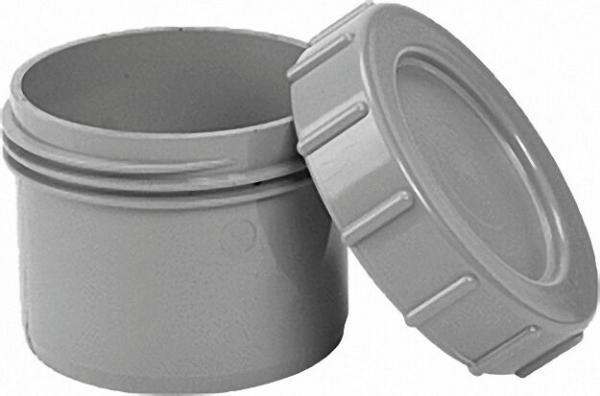 AIRFIT Endstopfen mit Schraubverschluss-Kappe, grau zum Einstecken in eine Muffe - DN 40