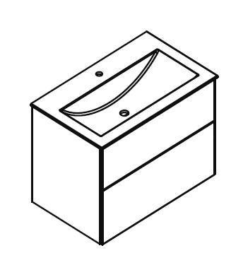 LANZET 7150712 P5 Waschtischunterschrank:58/51/42,5, Grafit/Grafit, 2 Schubladen