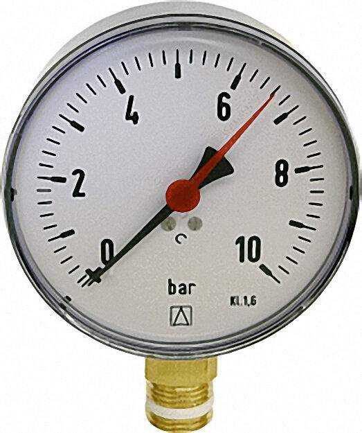 Manometer RF 80 1/2'' 0-10bar Anschluss radial