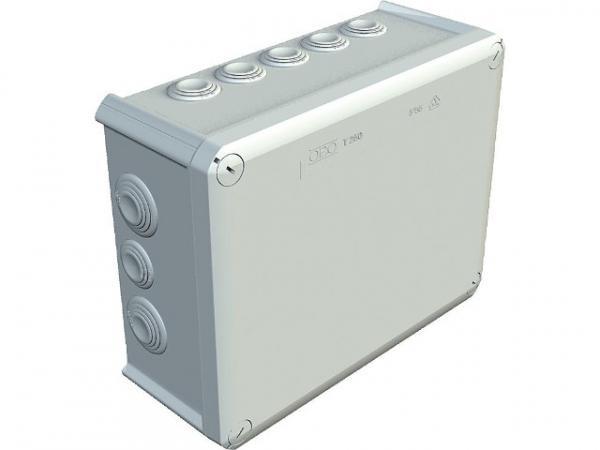 Abzweigkasten Thermoplast 9xM25 + 7xM32, IP 66 Typ T 250, lichtgrau / 1 Stück