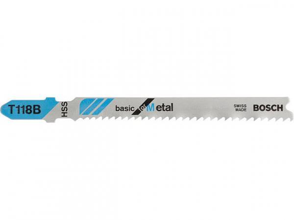 Stichsägeblätter BOSCH T118B Länge 92mm für gerade Schnitte in Metall, VPE 5 Stück