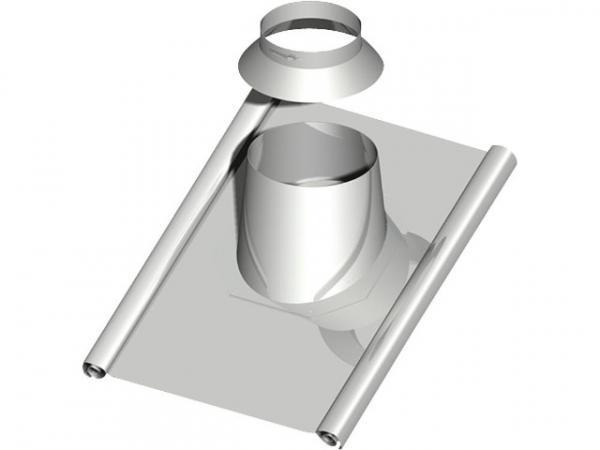 Doppelwandiges Abgassystem Dachdurchführung 15-30°, DN 150 mit Bleischürze ca. 1000 x 900mm
