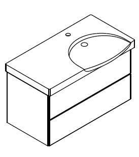 LANZET 7410212 K3 Waschtischunterschrank: 88/48/33,5 re. Dekor Dark Oak, 2 Schubladen
