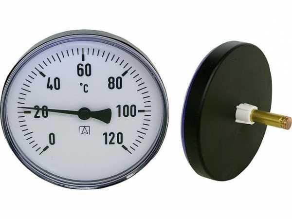 Kunststoffgehäuse AFRISO Bimetall-Zeigerthermometer 0-120 °C 63mm durch.