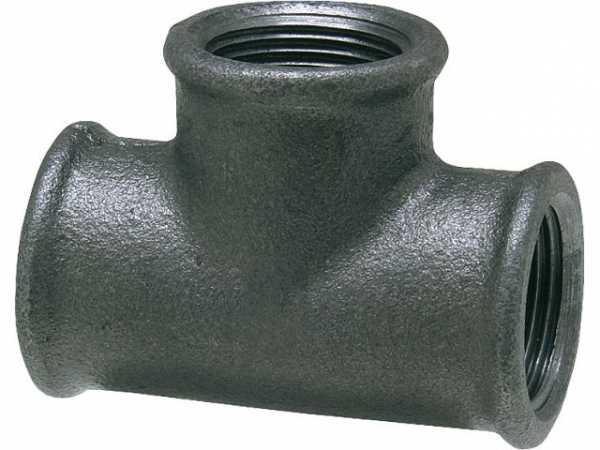 Tempergussfitting, schwarz T-Stück 90°, 1'' Typ 130