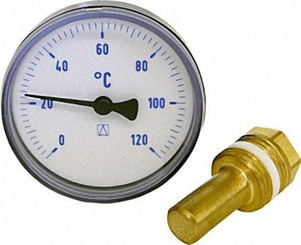 AFRISO Bimetall-Thermometer 0-120 °C 63mm durch., Kunststoffgehäuse blau (ohne Kugelhahn)