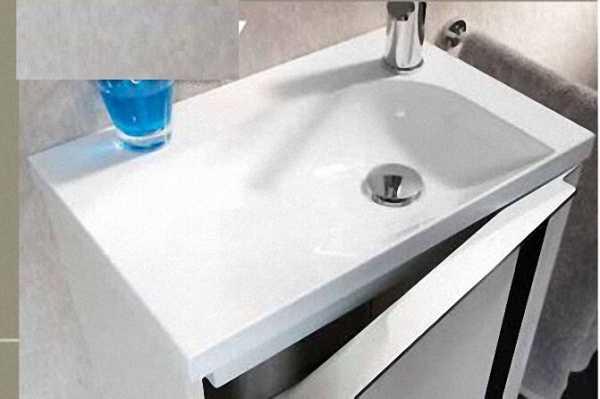 LANZET 7573612 VEDRO 12 Waschtischunterschrank+WT 49x60x32,rechts, Eiche Maron/Schwarz, 1 Tür