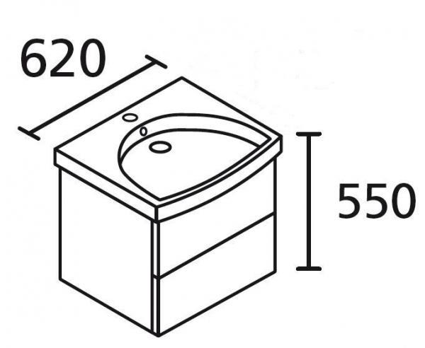 LANZET 7401112 K3 Waschtischunterschrank: 58/48/43,5 Dekor Dark Oak, 2 Schubladen