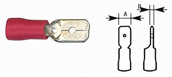 Flachstecker halbisoliert bis 1,5mm², 6, 3 x 0, 8mm Farbe rot, VPE = 100 Stück