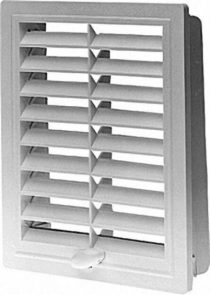 Lüftungsgitter mit Einbaurahmen, verstellbar 100mm x 280mm Kunstoff weiß
