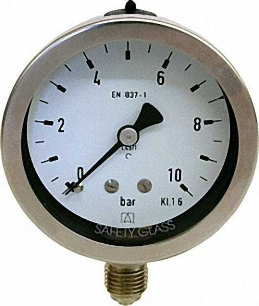 Manometer Chemie 0-2,5 bar, 63 mm für G1/4, axial