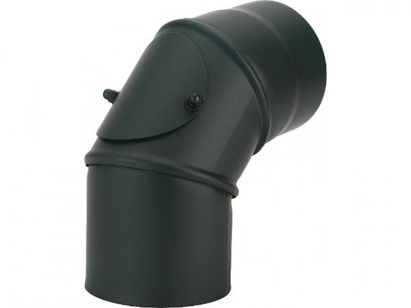 lackierter Rauchrohrbogen, mit Reinungstür, DN150, 90°, gussgrau