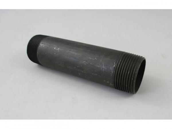 WOLF 2024009 Doppelnippel R 1 1/4', 150 lang,Schwarz verzinkt