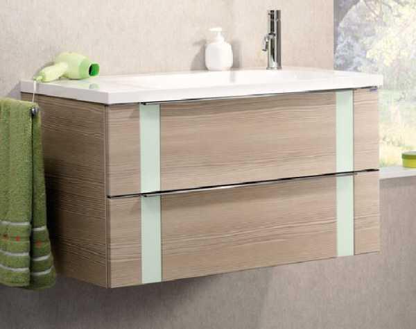 LANZET 7271512 VEDRO Waschtischunterschrank: + Becken 89x48x49 pinie/mint, 2 Schubladen