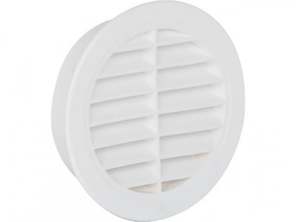 Lüftungsgitter rund mit Fliegendraht, Kunststoff 175mm, weiß