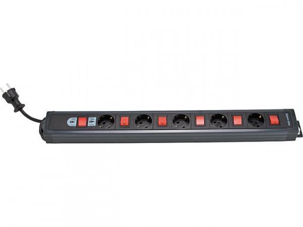 5-fach Schutzkontakt-Steckdose anthrazit, mit Einzelschaltern Zuleitung 3,7mtr