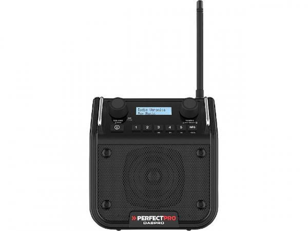 Baustellenradio Dabpro mit Akku 1x4 W, UKW, DAB+, Bluetooth 1,5kg, 180x180x130mm